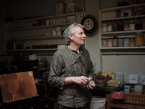 Portrait of potter Steve Harrison in his North London Studio
