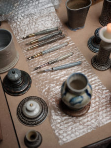 Collection of items made by potter Steve Harrison for stationery shop Choosing Keeping