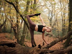 Jocie Cox in a bound half moon pose
